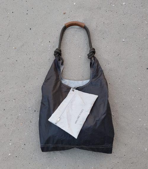czekoladowa torebka seashopper torebka z żagli z recyclingu