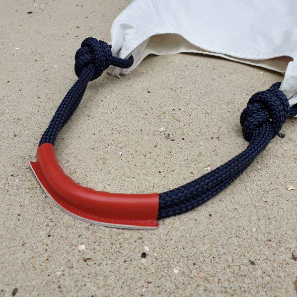 biała z czerwienią torebka seashopper torba z żagli damska torebka z żagli