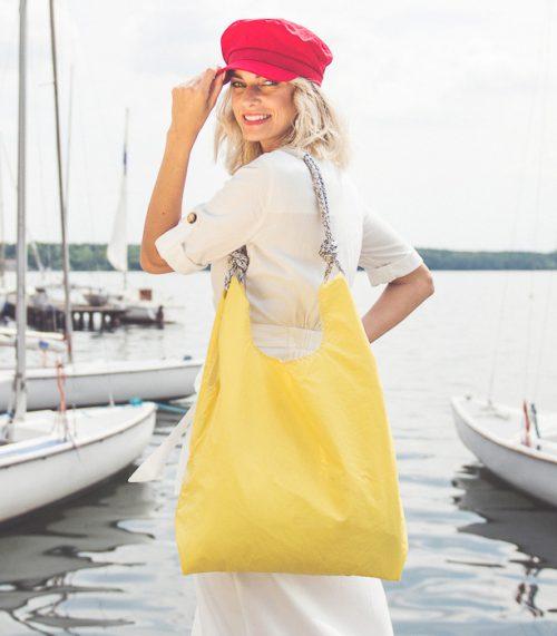 żółta żółta torebka seashopper torba z żagli z recyclingu seashopper torba z żagli z recyclingu