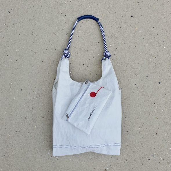 Pepitka Biała torebka Seashopper torebka damska z żagli torba z żagli